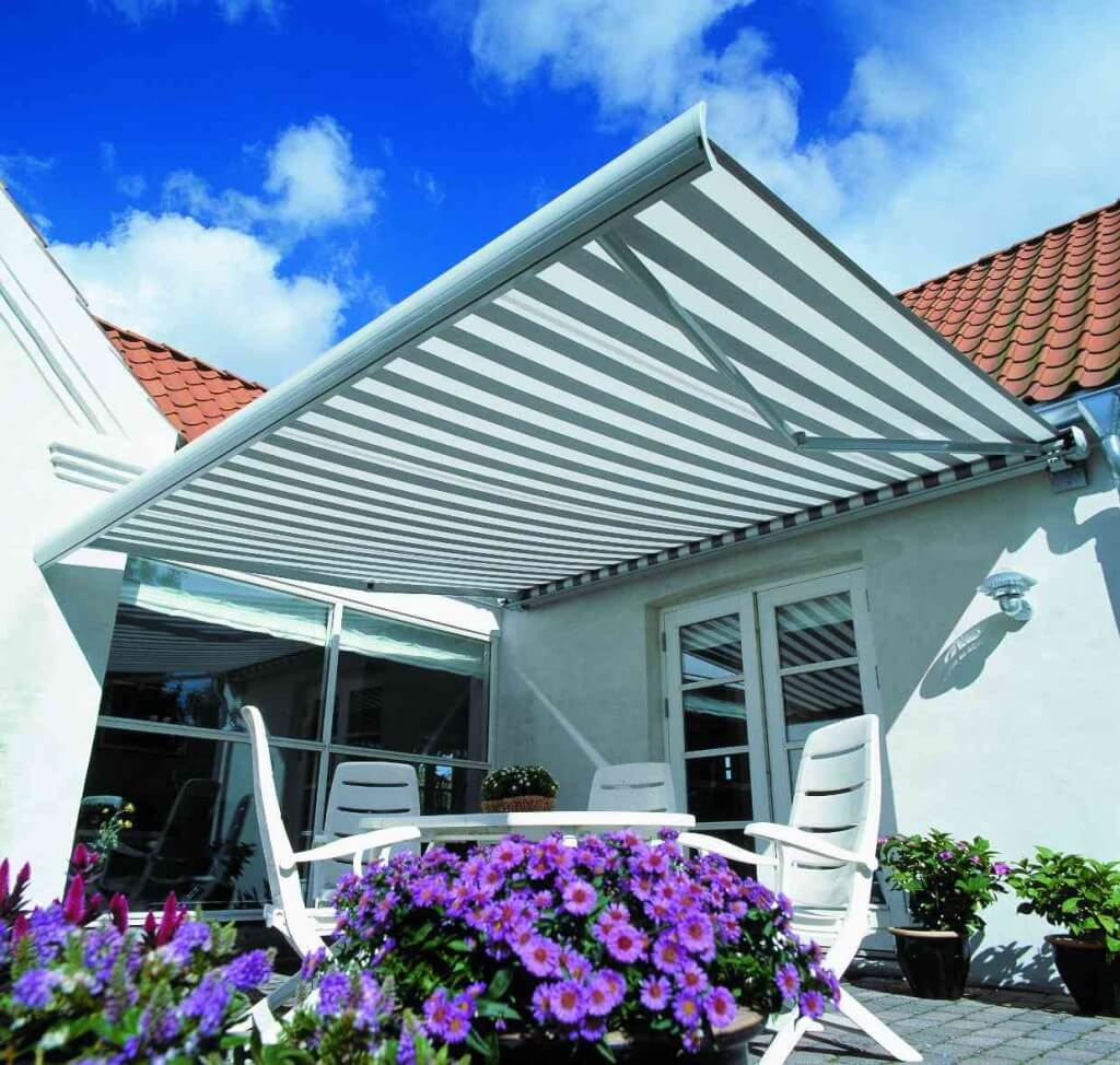 Traditional Striped Folding Arm Awning Adelaide